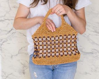 Wooden bead bag | Beaded tote bag | 60s beads shopper bag