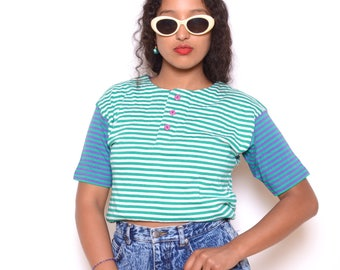 Vintage 80's Color Blocked/Striped Tee Sz M