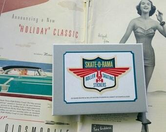 ROLLER SKATING STICKERS, Roller Rink Stickers, Fifties Stickers, 1950s Stickers, Vintage Ad Stickers, Fifties Advertising, Roller Skates