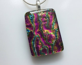 Dichroic Glass Pendant, Fused Glass Jewelry, Magenta Gold Blue Dichroic Necklace