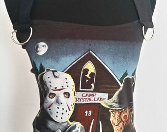 Horror Jason Voorhees Friday the 13th and Freddy Krueger Nightmare on Elm Street halter top ladies DIY t-shirt many sizes available