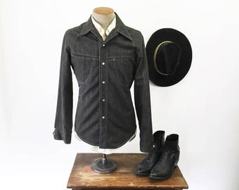 1970s Men's Black Denim Jean Jacket Vintage Cowboy Western Style Jacket with Pearl Snaps by TOBIAS TREND - Size MEDIUM