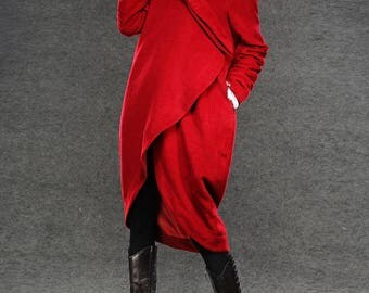 Wool Coat, coat, red coat, jacket, coats, red wool coat, winter coat, long coat, Asymmetrical coat, wool coat, women coat, loose coat  C026