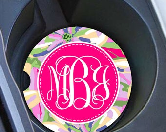 Preppy pink floral auto coasters, Purple and pink flowers car decoration, Monogrammed gifts for women (1698)