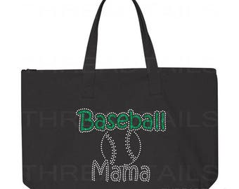 Baseball Mama Tote Bag. Glitter Rhinestone Baseball Sparkly tote.  Bling gift idea for Moms, Grandmas.  Large black bag, Zipper top.