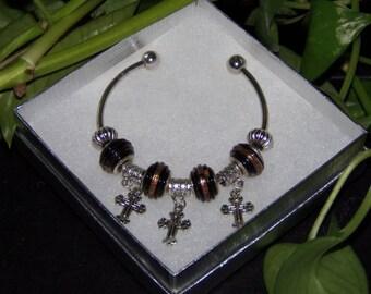 Black Murano Cuff Bracelet, Women's Cross Bracelet, European Bracelet