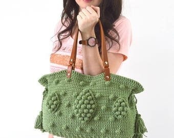 SALE Gerard Darel Dublin 24 Hour Inspired Handbag with Genuine Leather Handles,  Crochet bag, Tote, Purse, Boho Summer Bag