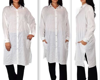Soft and comfortable Cotton Plus size Shirt, Cotton cardigan, Long Cotton Shirt, One Size fits 1X-3X