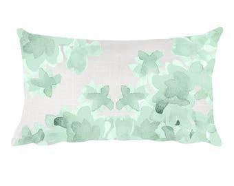 Mint Nursery Decor, 12x20, Mint Floral Pillow, Mint Bedroom Pillow, Mint Nursery Pillow, Mint Throw Pillow, Green Lumbar Pillow, Mint Flower