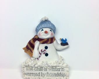 On Sale Snowman Ornament Handmade Polymer Clay