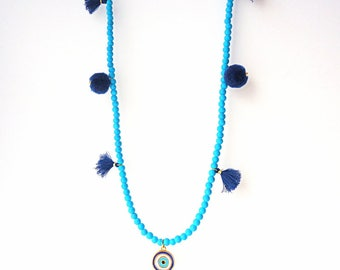 Evil eye necklace, Protection necklace, tassel necklace, pom pom necklace, summer necklace, beach necklace, royal blue necklace, boho