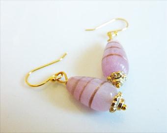 Pale Pink Gold Swirl Glass Teardrop Earrings
