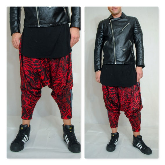 Red and Black Cheetah print  Harem Pant Dropped Crotch Draped Pant Mens Womens