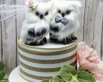 SALE CHOOSE THE  female head flower for free woodland  wedding cake topper romantic white owls in love wedding  cake topper owl