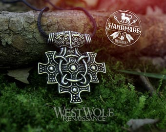 Viking Multi Cross Raven Head Pendant -- Norse/Scandinavian/Iceland/Germany/Medieval/Early Christian
