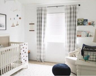 Plaid Curtains - BLACKOUT LINED - Buffalo Plaid - FREE Ship - 2 Curtain Panels - Nursery Curtains - Home Decor - Farmhouse Curtains Gingham