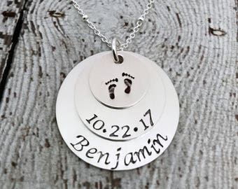 New Mom Necklace, Personalized Necklace for Mom, Push Gift, Baby Name Necklace, Mommy Jewelry, Mommy Necklace, Personalized Jewelry for Mom
