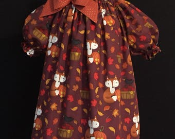 Lil Foxy peasant style size 2 ready to ship Halloween Thanksgiving harvest MADE in the USA