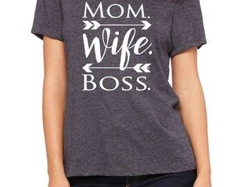 mom wife boss, mom boss shirt, gift for mom, mom gift, shirt for mom, mom shirt, mothers day, gift for her, mom birthday, new mom gift, mom