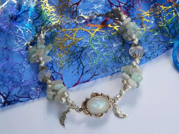 Moonstone & Larimar Triquetra Silver Bracelet Deluxe Creation Energy Stone Magick Crystal Healing