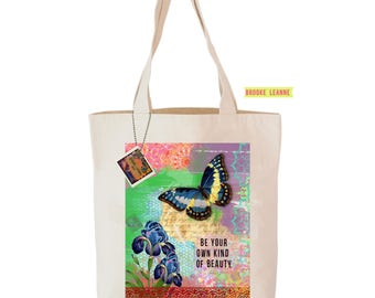 Butterfly Tote Bag - Reusable Shopping Grocery Bag - Farmer's Market Bag - Cotton Bag - Eco Tote Bag - Printed in USA