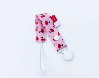 Pacifier clip-cherry-red-pink - green - white pattern fabric