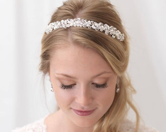 Crystal Wedding Headband, Swarovski Crystal Bridal Headband, Pearl Headband, Bridal Hair Accessory, Pearl Bridal Headpiece ~TI-3216