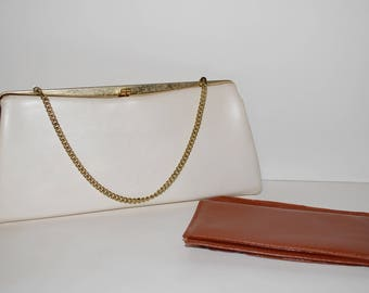 White Leather Clutch Purse