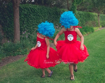 Dr. Suess inspired Embroidered Cat in the Hat Thing 1 Thing 2 Tutu dress costume. Miss Thing. Birthday, multiples, siblings Ribbon Trimmed
