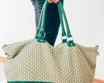Francis Green - Weekender Bag in green leather and fabric - Free shipping - Handmade in Argentina