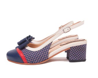 Agata Sixty - Pump in blue and red fabric, red and natural leather - Handmade in Argentina - Free shipping