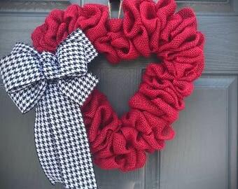 Red Heart Wreaths, Red Heart Decorations, Heart Decor, Gift for Her, Love Gift, Red Heart Gifts, Heart Door Wreaths, Love Heart, Houndstooth