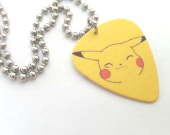 Pikachu Guitar Pick Necklace with Stainless Steel Ball Chain - cartoon