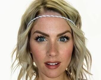 The Zoe - White and Silver Twisted Boho Headband