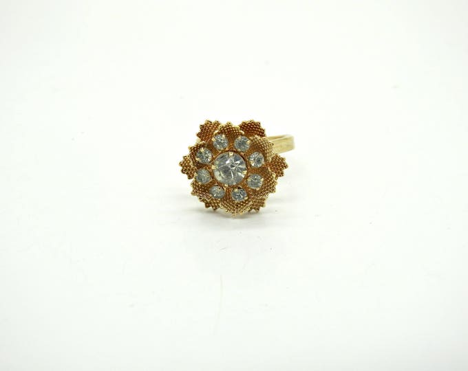 Evening ring adjustable goldtone vtg rhinestone dressy saint valentine light weight low priced tiny crystal gift ideas under 30 teens idea