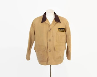 Vintage 60s Hunting JACKET / 1960s Tan Canvas Flannel Lined Field Coat L