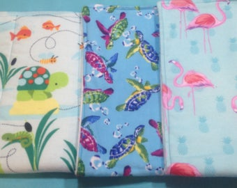 3 diaper and flannel burp cloths in frog,turtle and flamingo prints