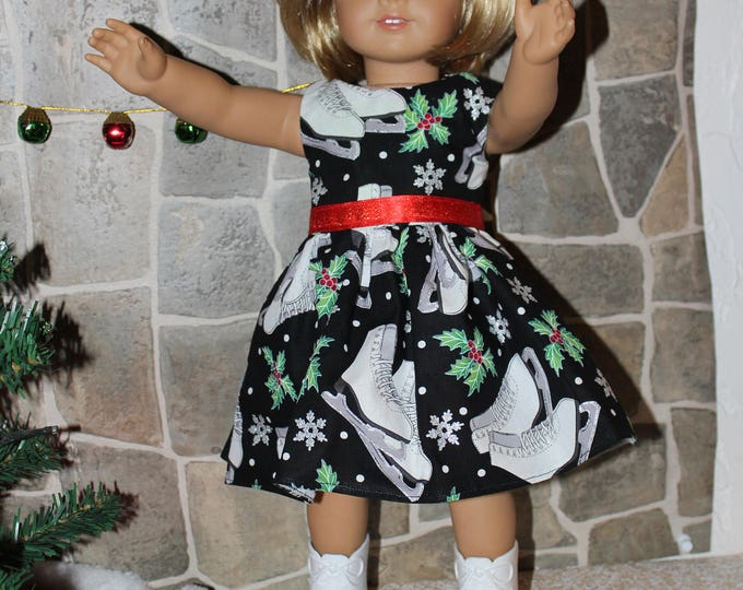 Christmas Ice Skating Print Dress with Red Ribbon, Ice Skates included.  FREE SHIPPING
