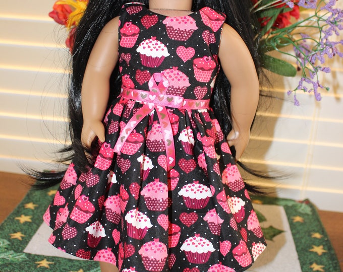 Ready to Party Cupcake Print with Pink Ribbon Dress Red Bling Shoes Made to fit the AG and other 18 inch dolls FREE SHIPPING