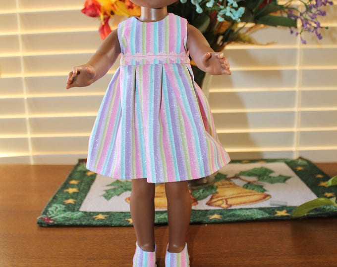 Ready to Party Pastel Stripes Print Dress,Ribbon, Shoes made to fit the likes of Wellie Wisher and other 14.5 inch dolls, FREE SHIPPING