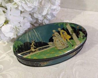 Beautiful Cadbury Chocolates Tin Box, Oval Box, 1700s Courtship Scene, Vintage Tin Box, Decorative Tin Box, Romantic Décor, Confection Box