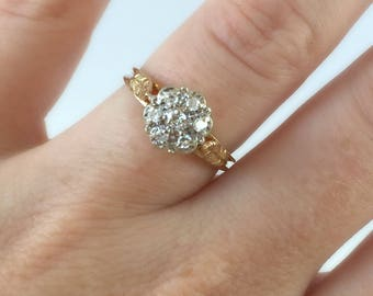 14K Vintage Two Tone Yellow and White Gold Diamond Cluster Flower Engagement Ring