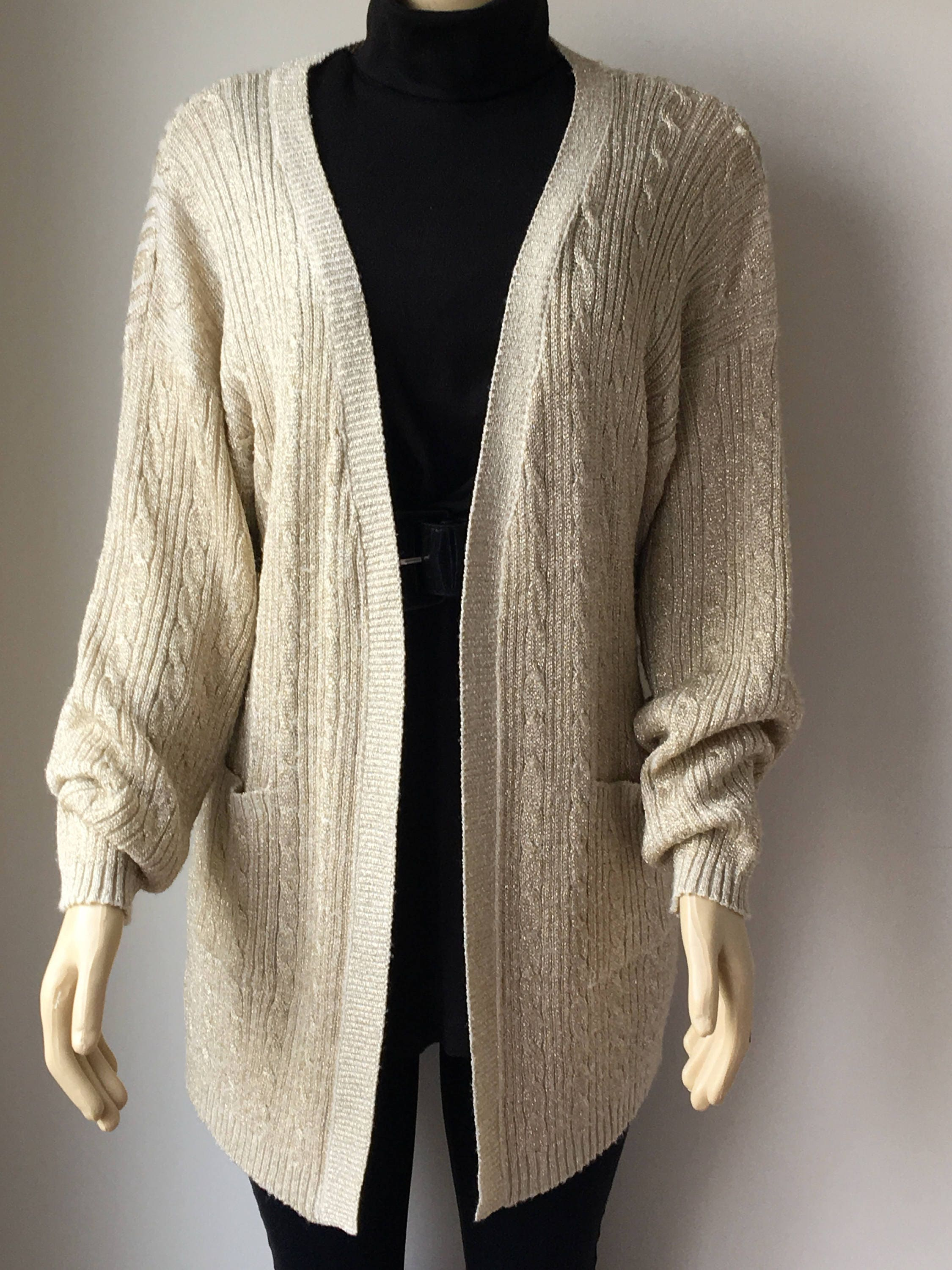 Gold Metallic cardigan shimmering Long sweater Open front