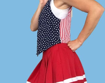 American Flag Vest/ Red White and Blue Vest / Patriotic Top/ Americana/ Red Striped Vest/ White Stars/ Blue Vest/ Red Vest/ Fourth of July