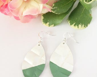 Leather earrings, dipped earrings, painted leather, hand painted earrings, green dipped, summer accessory, white leather