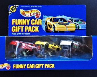 Hot Wheels Vintage 1990 Funny Car Gift Pack Featuring 3 Funny Car Dragsters Motorcraft, Pennzoil, and Castrol GTX Race Cars New In Seald Box