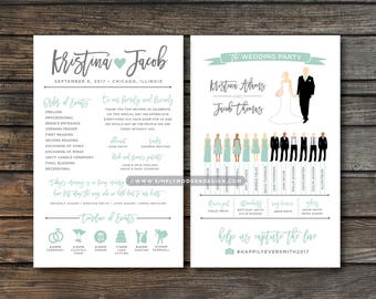 silhouette wedding program, wedding program, wedding party silhouettes, ceremony program, wedding program fan, PRINTABLE or PRINTED PROGRAMS