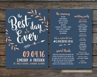 the best day ever, wedding program, ceremony, beach wedding, destination, tropical, wedding fan, program fan, PRINTABLE or PRINTED PROGRAMS