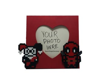 Harley Quinn and Deadpool Picture Frame - Harley Quinn and Deadpool Couples Gift - Harley Quinn Wedding - Deadpool Wedding