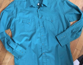 Vintage Western Turquoise ELY Cattleman Men's Shirt Size 16 1/2 x 35